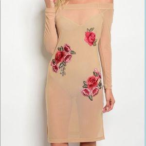 Tan mesh with rose floral print